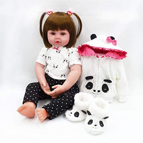 Nicery Icradle Reborn Baby Doll Soft Simulation Silicone Vinyl 18inch 45cm Lifelike Vivid Boy Girl Toy White Panda Coat RD45C098W
