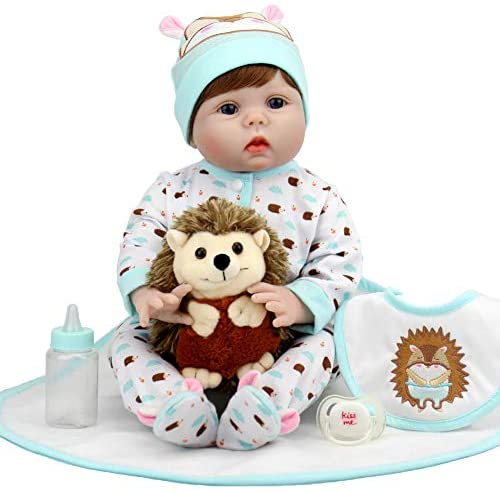 Aori Lifelike Reborn Baby Dolls 22 Inch Real Looking Weighted Reborn Boy Doll with Hedgehog Toy Best Birthday Set for Girls Age 3