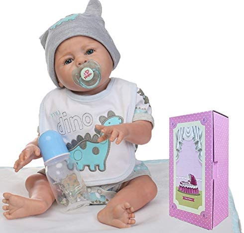 "NPKTOYS Lifelike Reborn Baby Doll Boy 22"" Full Vinyl Silicone Washable Toy Newborn Dolls"