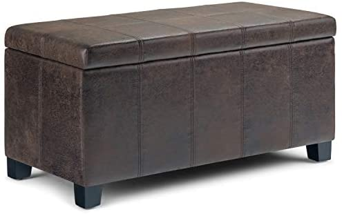 Simpli Home Dover 36 inch Wide Rectangle Lift Top  Storage Ottoman Bench in Upholstered Distressed Brown Faux Air Leather, Footrest Stool, Coffee Table for the Living Room, Bedroom and Kids Room