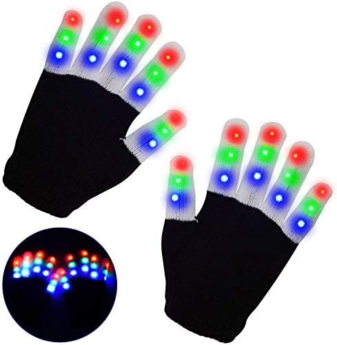 Minote Kids LED Gloves Light up Gloves 3 Colors 6 Modes Flashing Finger Light Led Rave Gloves for Kids,Great for Halloween Christmas Costume Birthday EDM Party (Kids Age 4-10)