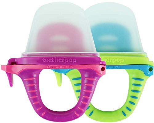 teetherpop - New 2 Pack - Fillable, Freezable Baby Teether for Breastmilk, Purées, Water, Smoothies, Juice & More (Baby Teether is USA Made & BPA Free)