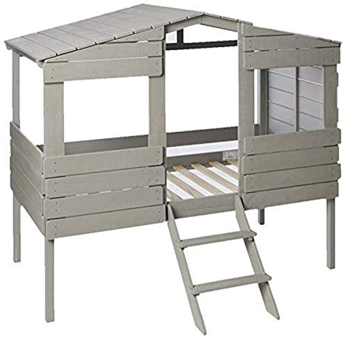 Donco Kids Tree House Low Loft Bed, Twin, Rustic Grey