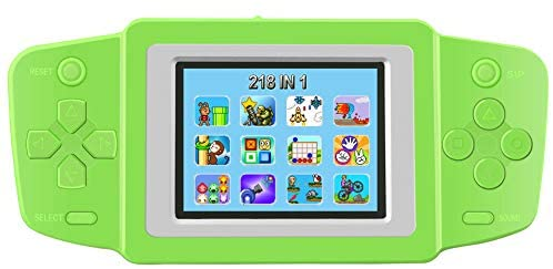 TEBIYOU Handheld Game Console for Kids Seniors Adults with Built in 218 Classic Video Games 2.5'' Screen USB Rechargeable Portable Gaming Console Player Birthday Gift for Toddlers-Green