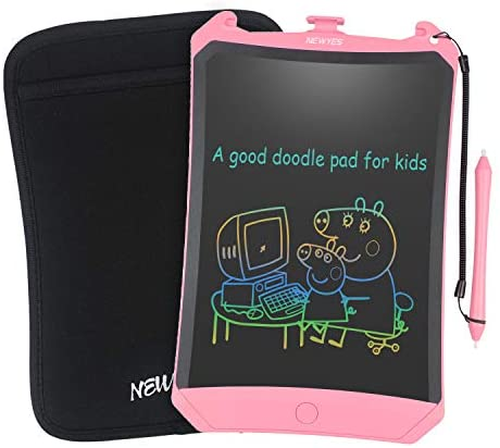 NEWYES Colorful Robot Pad 8.5 Inch LCD Writing Tablet with Lock Function Electronic Doodle Pads Drawing Board with Case and Lanyard Gifts for Kids Pink