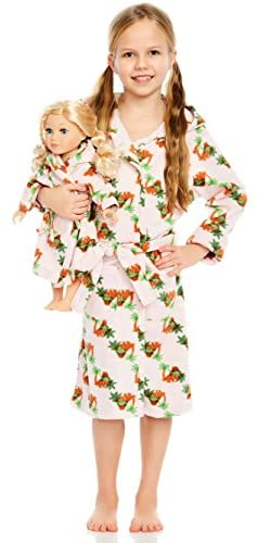 Leveret Kids Robe Matching Doll & Girls Fleece Sleep Robe Bathrobe Unicorn (2 Toddler-14 Years) Fits American Girl Doll