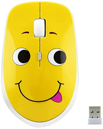 3C Light 2.4GHz Wireless Mouse Cute Silent Wireless Mouse Portable Optical Mice Cartoon Computer Mouse 3 Adjustable DPI for Laptop Desktop PC (Expression A)