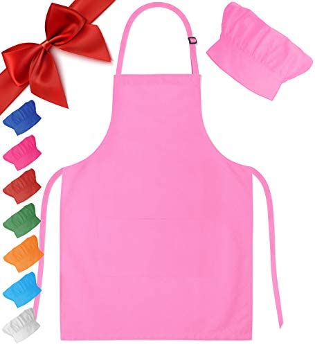 Dapper&Doll Kids Apron and Chef Hat - Ages 4-10 - Light Pink