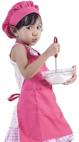 Dapper&Doll Kids Apron and Chef Hat - Ages 4-10 - Pink