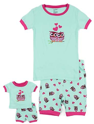 Leveret Shorts Kids & Toddler Pajamas Matching Doll & Girls Pajamas 100% Cotton Owl Pjs Set (2-10 Years) Fits American Girl