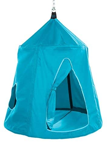 HearthSong Go! Hangout HugglePod Hanging Tent with LED Lights and Go! Hangout Hanger, Sturdy Cotton Canvas, 54