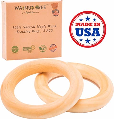 Made in USA - First Organic Maple Montessori Wood Teether Ring 3