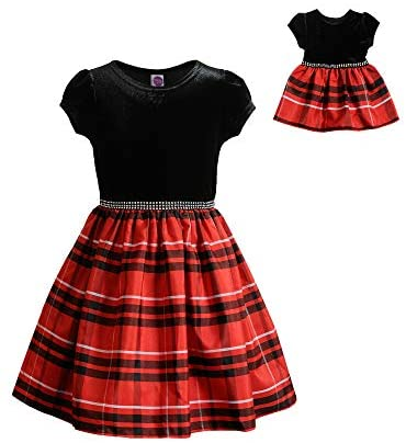 Dollie & Me Girls' Cap Sleeve Velvet Woven Plaid Dress with Matching Doll Outfit