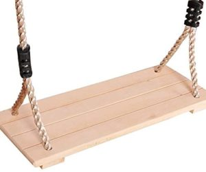 Wood Tree Swing Seat 4 Hole Tree Swing Wooden Swings Rope Indoor Outdoor Rope Wooden Swing Set Kids Children Adult Backyard Play Sets
