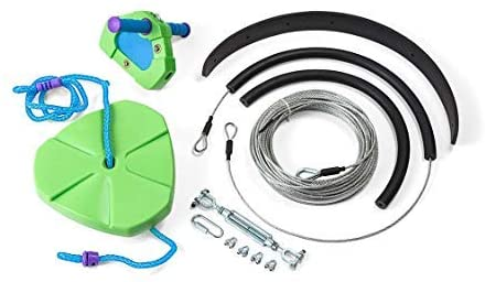 HearthSong 100' Green Kids' Backyard Zipline Kit with Adjustable Seat, Non-Slip Handles, Rubber Brake, and Hanging Hardware, Holds Up to 250 Lbs.