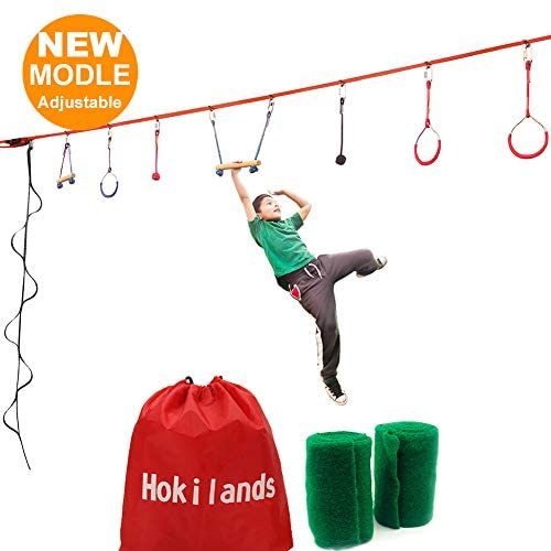 Hokilands Ninja Warrior Obstacle Course for Kids + Climbing Rope Ladder, 45 ft Ninja Slackline with 8 Hanging Ninja Obstacle Course, Ninja Warrior Training Equipment for Kids Backyard Outdoor Indoor