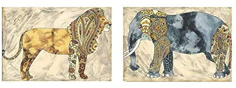 BNSDMM Adults' Paint-by-Number Kits Diamond Painting Full Diamond Living Room Painting Mascot Elephant Lion Diamond Drawing 5D DIY (Color : 80x120cm, Size : Lion and Elephant)