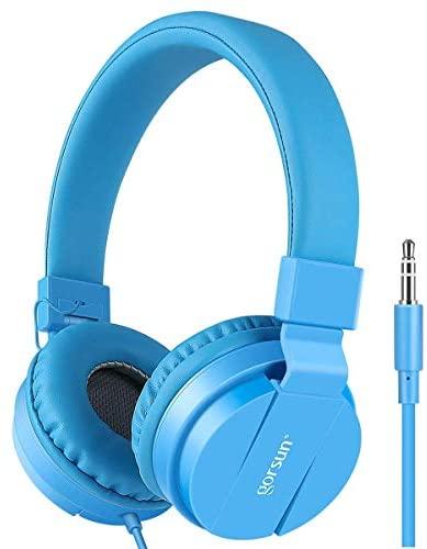 Gorsun Lightweight Stereo Folding Wired Headphones for Kids Adults Adjustable Headband Headset for Cellphones Smartphones iPhone Laptop Computer Mp3/4 Earphones(Blue)