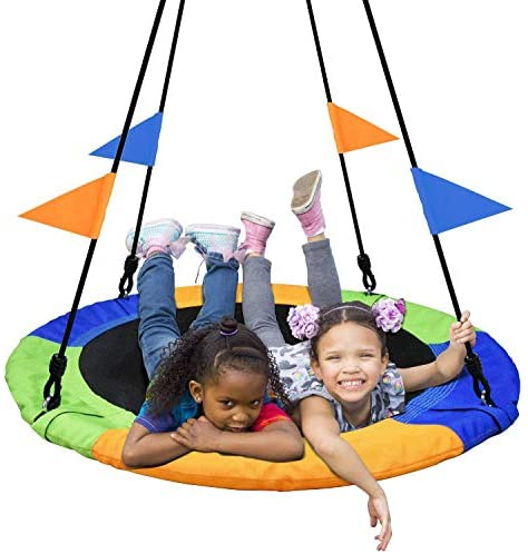 PACEARTH 40 Inch Saucer Tree Swing Flying 660lb Weight Capacity 2 Added Hanging Straps and Flags Adjustable Multi-Strand Ropes Colorful Safe and Durable Swing Seat for Children Adults