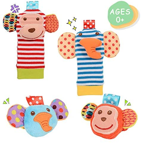 Daisy Cute Animal Wrist and Foot Rattles Finder Socks Set for Infant Baby Velcro Design Developmental Toys Set Elephant and Monkey - Wonderful Baby Gift