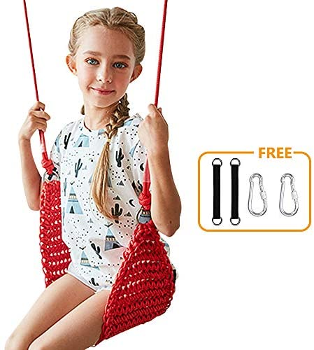 Donghoodshop Kids Swing Seat,Children Swing Set for Indoor/Outdoor/Home/Playground/Tree/Background Heavy Duty Rope Play Swing Seat,Suit for 2 to 12 Years,440 lbs Capacity (Red)