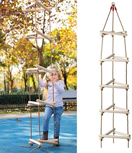 ROCK1ON 8.2Ft Triangle Climbing Rope Ladder for Outdoor Swing Set 5 Step Climbing Game for Kids & Adults Backyard Playground Tree House Ninja Ladder Weight Capacity 265 Lbs