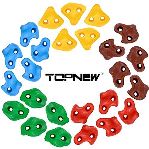 TOPNEW 25 Rock Climbing Holds for Kids and Adults, Large Rock Wall Grips for Indoor and Outdoor Play Set - Build Rock Climbing Wall with 2 Inch Mounting Hardware