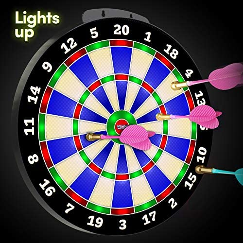 LIGHT-UP Magnetic Dart Board Game - Innovative Illuminated Kids Safe Dartboard Set with Glow-in-the-Dark Darts for Kids, Teens & Adults - Sports Gifts for Boys & Girls - Indoor or Outdoor Party Toys