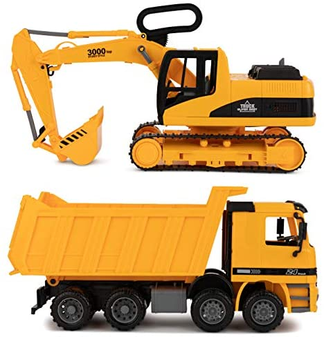 Toy To Enjoy Excavator & Dump Truck Toy for Kids (Set of 2) – Moveable Claw & Lifting Back – Garbage Truck & Bulldozer Digger – Construction Vehicle for Kids & Children
