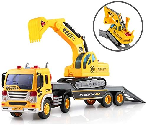 ToyThrill Friction Powered Flatbed Truck with Excavator Tractor - Push and Go Construction Toy for Boys and Girls with Lights and Sounds - Realistic 1:16 Scale Design