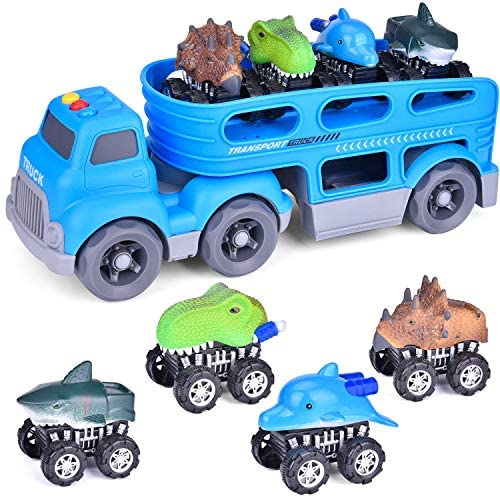 FUN LITTLE TOYS Friction Powered Car Carrier Truck Toy for Kids with Lights and Sounds, Toy Cars for Boys 2-5, 4 Dinosaur Cars