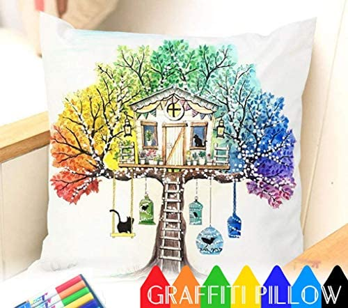 Fastness Treehouse DIY Coloring Pillowcase Decoration, 18 Inch Square with Bonus A Set of Doodle Color Pens, Creative Gift for Kids (Treehouse)