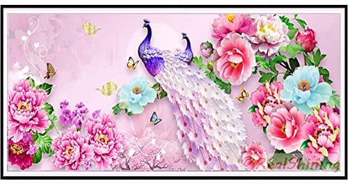 Diamond Painting DIY 5D Peony Flowers Peacock Full Drill Diamonds Art Kit for Kids Adults Round Drill 80x220cm H14195