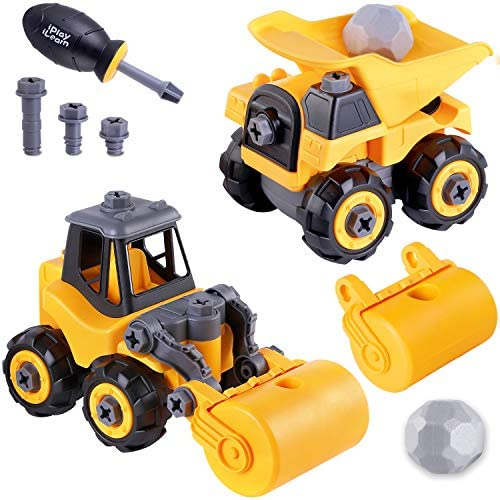 iPlay, iLearn Take Apart Construction Truck Toys, Assembly Vehicle Playset Dump Truck, Road Roller W/ Screwdriver, Kid STEM Learning Building Gift for 3 4 5 6 Year Olds Boy Toddler Children