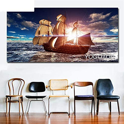 5D Diamond Painting Full Drill Embroidery Sailboat Seascape DIY Kits for Adults Kids Crystal Rhinestone Arts Craft for Home Wall Decor Square Drill 80x220cm H9832
