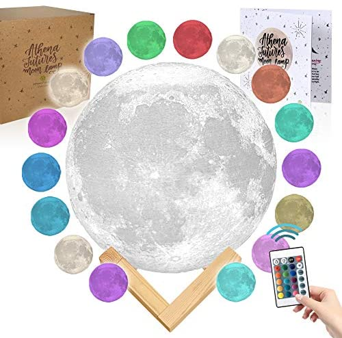 Moon Lamp Moon Light 3D Moon Lamp - [USA Seller] [Upgrade] 16 Color Moon Night Light with Stand - Mood Lamp Book, Globe, Cool Lamp, 7.1 in, USB Charging (7.1 inch - 16 Color)