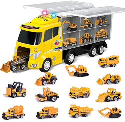 FUN LITTLE TOYS 12 in 1 Die-cast Construction Truck, Toy Car Play Vehicles in Carrier Truck, Present for Kids