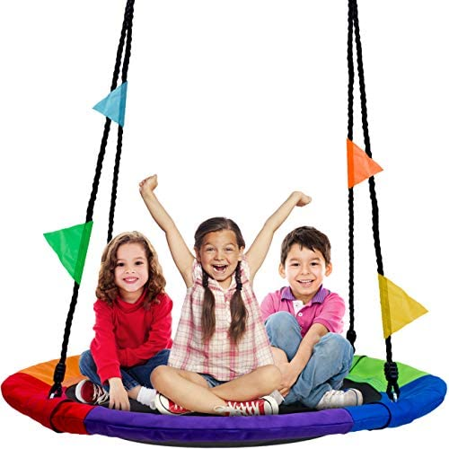 "Sorbus Saucer Tree Swing in Multi-Color Rainbow – Kids Indoor/Outdoor Round Mat Swing – Great for Tree, Swing Set, Backyard, Playground, Playroom – Accessories Included (Round – 40"")"