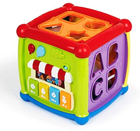 Bambiya Baby Activity Cube - 6-in-1 Baby Learning Toys Play Set Includes A-B-C-D Letters, Colorful Shape Sorter, Vehicles Puzzle, 4 Piano Keys and More - Infant Toy for Toddlers 18+ Months