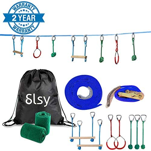 Slsy Ninja line Monkey Bar Kit 40 Foot, Kids Slackline Hanging Obstacle Course Set Warrior Training Equipment for Backyard Outdoor Playground, with Gym Rings, 440lb Capacity, Carrying Bag