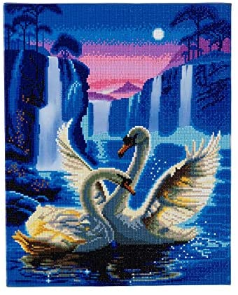 Crystal Art Light-Up LED Moonlight Swans Waterfalls Pre-Framed D.I.Y. Round 5D Diamond Painting Craft Kit On Stretched Canvas Wood Frame, Large 40x50 cm (16x20 in.)