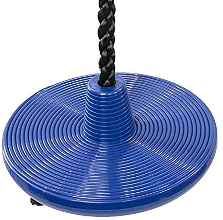 Squirrel Products Heavy Duty Plastic Tree Swing - Disc Rope Swing with Leg Protectors - Additions & Replacements - Outdoor Play Equipment - Blue