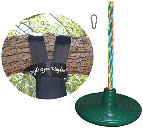 Jungle Gym Kingdom Tree Disc Rope Swing Seat 8 Feet Multicolor Rope & 4 Feet Strap and Locking Snap Hook for Outdoor Playground Set Accessories Tree House Flying Saucer Swing Outside Kids Toys (Green)