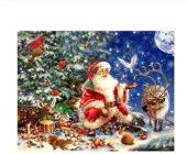 VJIEBF Full Square Round 5D DIY Diamond Painting Santa Claus and Deer Diamond Embroidery Christmas 3D Cross Stitch Rhinestone Mosaic