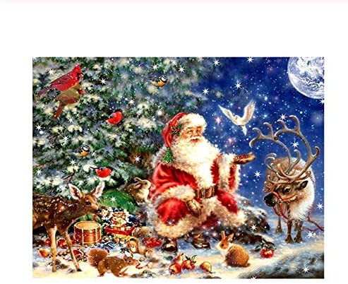 VJIEBF Full Square Round 5D DIY Diamond Painting Santa Claus and Deer Diamond Embroidery Christmas 3D Cross Stitch Rhinestone Mosaic