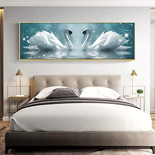 Diamond Painting Swan Full Diamond Living Room 5D Tiling Diamond Cross Stitch Bedroom Bedside Heart 250X90Cm
