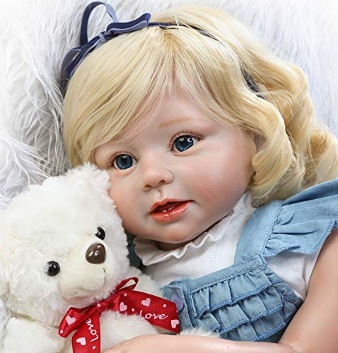 Lifelike Toddlers Girl 28 Inch Reborn Toddler Girl Doll Vinyl Silicone Dolls Golden Curly Hair