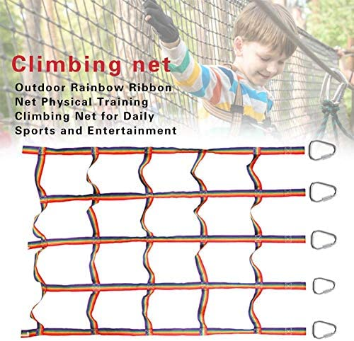 signmeili Ninja Climbing Net, Playground Climbing Net Nylon Rainbow Climbing Frame Net Warrior Cargo Net Indoor/Outdoor Treehouse Kids Playing wondeful