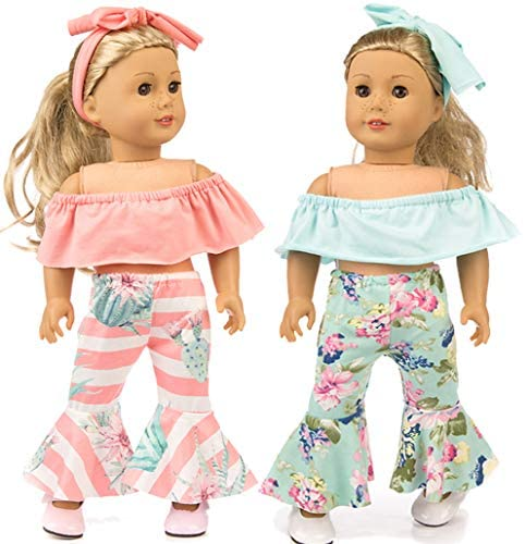 iBayda 6pc/Set Doll Clothes Accessories for 18 inch American Girl Doll,Our Generation Doll,15 inch Dolls Include Off-Shoulder Top Bell-Bottom Trousers and Headband