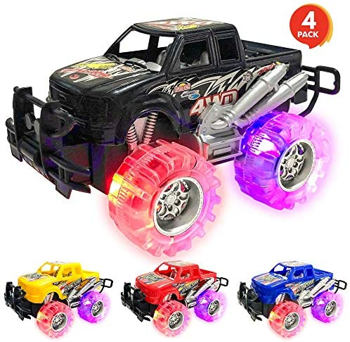 ArtCreativity Light Up Monster Truck Set for Boys and Girls Set Includes 4, 6 Inch Monster Trucks with Beautiful Flashing LED Tires - Push n Go Toy Cars Best Gift for Kids - for Ages 3+